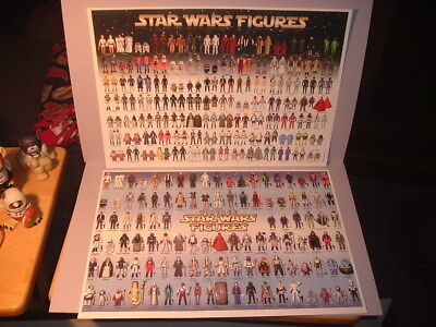Lot of 2 Reproduction Vintage Star Wars Poster Action Figure Checklists 1977-85