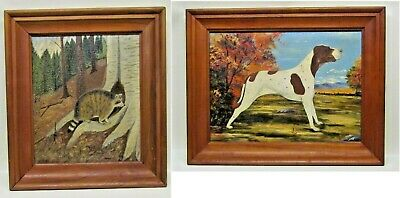 """Antique Student Art  Dog Breed """" POINTER """" Canvas on Board Painting"""