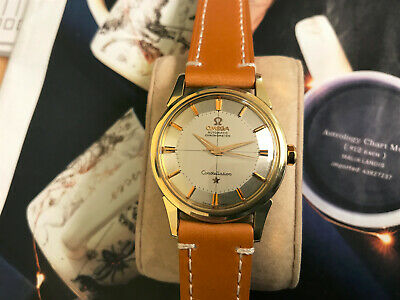 Vintage 1959 Omega 14K Yellow gold cap and SS Constellation men's watch