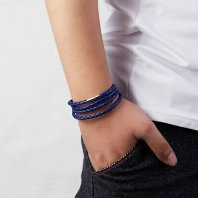Punk Men Blue Leather Bracelet Bangle Adjustable Handmade Jewelry Gifts Party