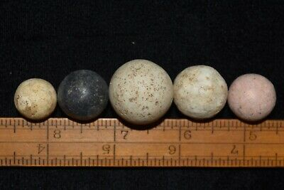 Lot of 5 Game Ball Marbles Found In Southern Illinois D1 KK