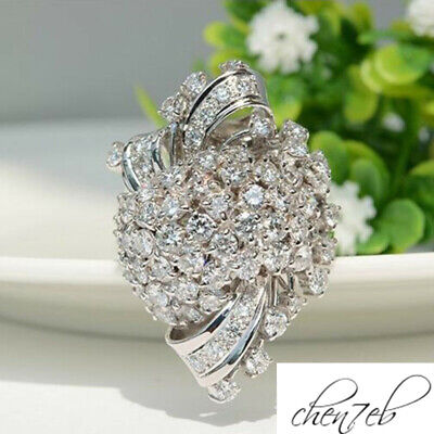 Silver Diamond Luxury Fashion Zircon Flower Color Jewelry Women Simulated Rings