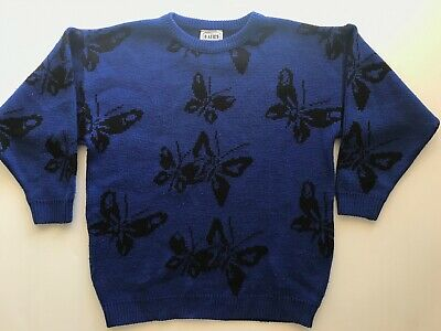 Vintage Katies Blue Jumper Sweater size 10 Butterfly print Black 80s 90s