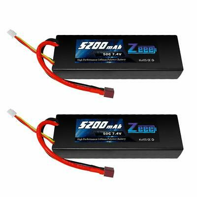 Zeee 5200Mah 7.4V 2S 50C Lipo Battery Hard Case With Deans T Plug For Rc Truck R