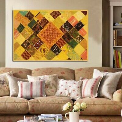 "60"" Yellow Handcrafted Vintage Threadwork Wall Decor Hanging Throw Sari Tapestry"