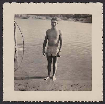 Beach Young Man Swimsuit @ Waters Edge Old/Vintage Photo Snapshot-P128