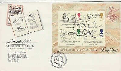 GB Stamps First Day Cover Centenary Death of Edward Lear MS, author SHS Man 1988