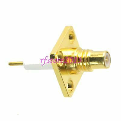 1pce Connector SMC male 4-holes Flange solder Panel mount PTFE RF COAXIAL