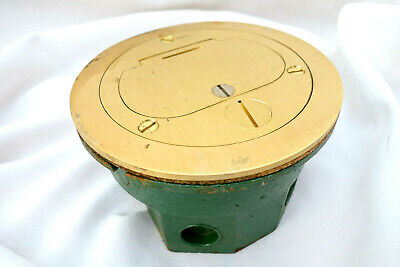 "LEW ELECTRICAL FLOOR BOX 612 COMPLETE with Cast Knock out 5 1/4"" BRASS POP UP"