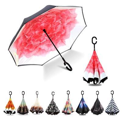 Double Layer Windproof Upside Down Reverse Umbrella C-Handle Inside-Out Inverted