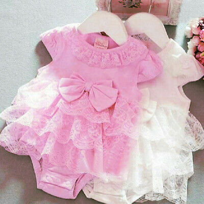 Cute Newborn Infant Baby Girl Lace Bow Romper Jumpsuit  One-Pieces Outfit Summer