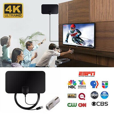 HDTV Indoor Antenna Aerial HD Digital TV Signal Amplified Booster Cable 50 Mile