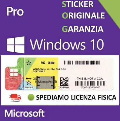 X10 LICENZA WINDOWS 10 PRO Professional 32 - 64 BIT STICKER COA license label