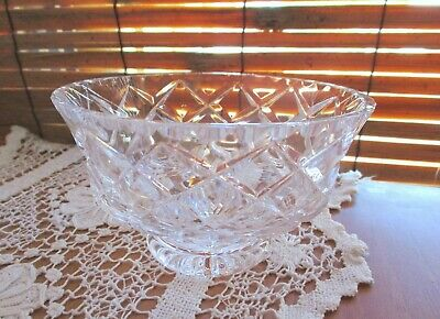 Vintage Cut Crystal Diamond Pattern Footed Glass Candy Dish / Bowl