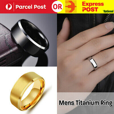 Mens Titanium Stainless Steel Ring Promise Engagement Wedding Ring Band Size8-10