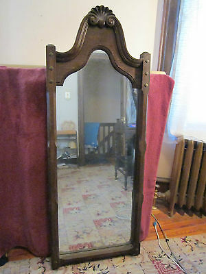 Early 1900's arts and crafts-style oak wood frame wall mirror
