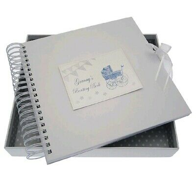 White Cotton Cards Granny's Boasting Card/Memory Book Blue Pram and Bunting