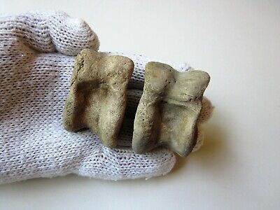 Lot of 2 ancient authentic Roman bone legionary knuckle gaming pieces.