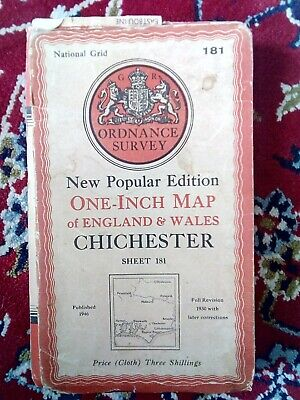 Vintage Ordnance Survey Map 181 1946 Chichester