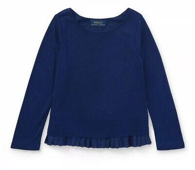 Nwt Polo Ralph Lauren Girls Navy Blue Top With Pleated Hem Size 3/3T Msrp $35.00