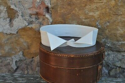 "**Mens Antique Wing Starched White Collar - Collins, Dundee -Period -17"" x 1 3/4"