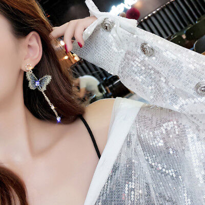 Fashion Embroidery Butterfly Crystal Tassel Chain Dangle Earrings Party Jewelry