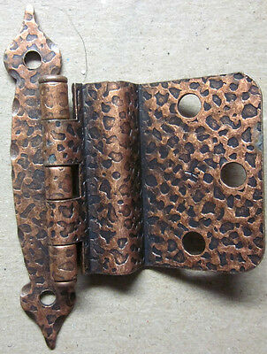 "1 Vintage USA Cabinet Hinge Colonial Style Spade Ends Hammered Copper 3/8"" Inset"