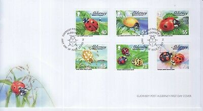 GB Stamps First Day Cover Alderney Ladybirds, nature, flower etc SHS Insect 2014