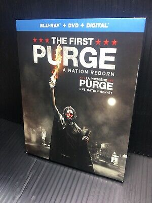 The First Purge Blu-ray/DVD, 2018 2-Disc Open Good Slipcover Canadian