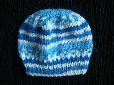 Baby clothes BOY premature/tiny<7.5lbs/3.4kg NEW! cute white/blues soft knit hat