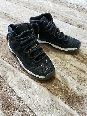 d89ce56d4c3 Nike Air Jordan XI 11 Retro Heiress Black Stingray Gold 852625-030 sz 6.5y