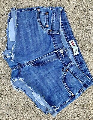 30d45c6d Frayed Levi's 550 High-waisted Distressed Stretch Cut-off Blue Jean Shorts
