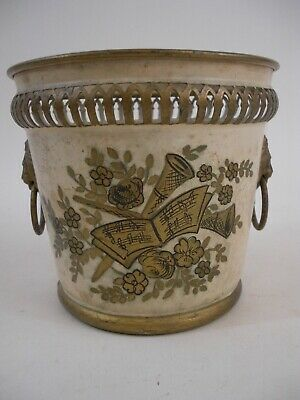 Hand Painted Vintage Metal French Musical Themed Tole Cache Pot with Lion Rings