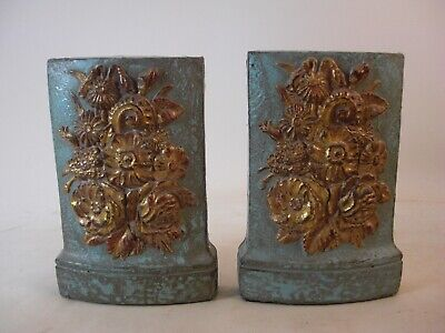 Pr Pre Rahaelite Victorian Style Bookends Blue Painting Gold Gilt Floral Whimsy
