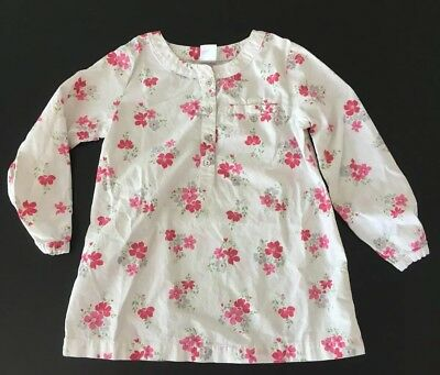 Carter's White Pink Silver Floral Print Long Sleeve Tunic Shirt Toddler 3T