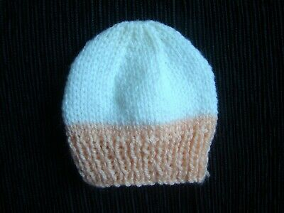 Baby clothes GIRL premature/tiny<7.5lbs/3.4kg NEW! cream/peach-pink soft hat