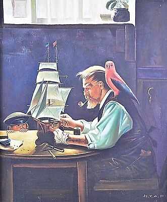 after Rockwell, Norman 1894 - 1978 The Boat Builder, oil on canvas