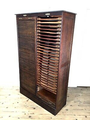 Antique Tambour Fronted Double Haberdashery / Filing Cabinet With Drawers / Oak