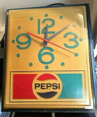 Vintage 1970's Retro Large Pepsi Advertising Lighted Wall Clock Sign Works