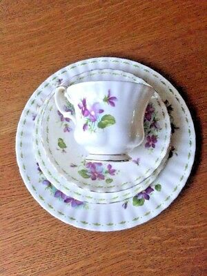 Royal Albert Flower February Violets Bone China Cup Saucer Tea Plate & Plate