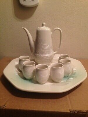 NEW Chinese Miniature Tea Set 8 pc Porcelain with Mother of Pearl? Ivory White