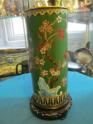 Collectible old rare cylinder shape chinese cloisonne, enamel brass flower decor