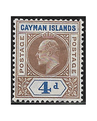 CAYMAN stamps 1907 EDWARD VII 4 pence brown and blue SG.13 MH -F749