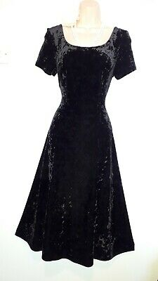 M&S St Michael Gorgeous Crushed Velvet Stretch Vintage Black Dress 12 uk us 8