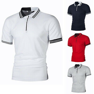 Mens Striped Lapel Polo T-Shirt Work Slim Fit Casual Short Sleeve Top Golf Tee