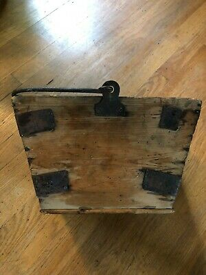 Antique Primitive Rustic Rice Bucket Wood with Iron handle and reinforced edges