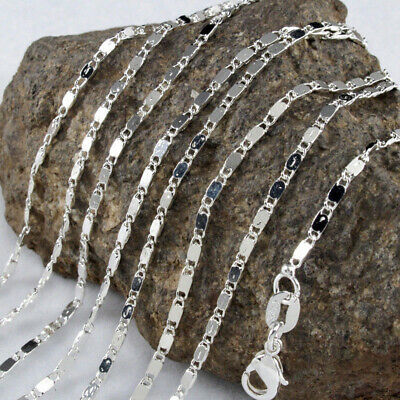 Wholesale 5Pc 925 Sterling Silver Curb Link Chain Necklace Women Wedding Jewelry