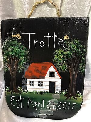 ESTABLISHED Wedding Housewarming NEW HOME Hand Painted Slate PERSONALIZED Custom