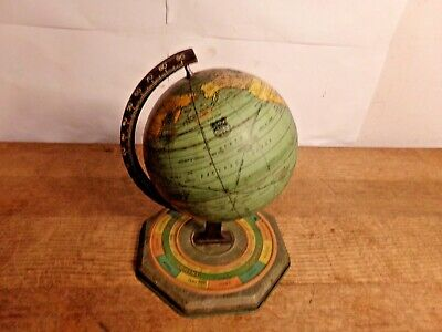 Vintage 1930's J. Chein & Co Tin Metal Rotating Globe Horoscope Almanac Calendar