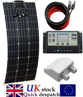 100w Flex ETFE Solar Panel + 10A Charger Controller +4m cable fuse battery clips